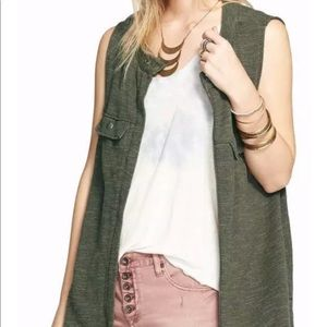 Free People Slub knit Highway vest olive green